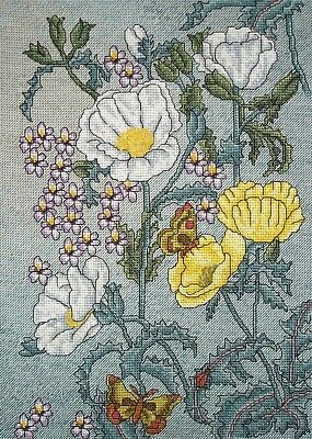 Counted Cross Stitch Unframed Linen Tapestry Picture Poppies & Butterflies
