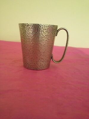 "Vintage Hammered 'Super Quality' silver plate mug 3.5"" Excellent condition"
