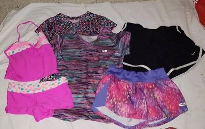 Lot 6 pcs Girls Clothes Size M 7-8 Athletic Wear Short Shirts Swimsuit Nike Cham