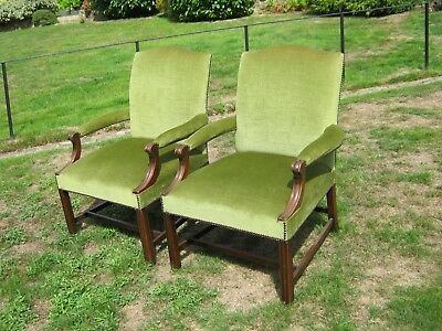 Mahogany Open Armchairs with Green Dralon Upholstery - George III style - A pair