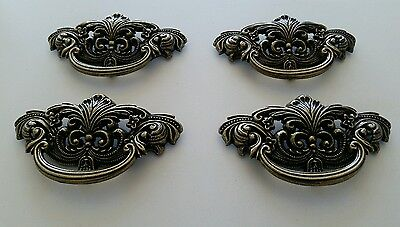 4 Matching Vintage Look Cast Metal Drawer Pulls Handles 3 Inch Ctr To Ctr (Eb)