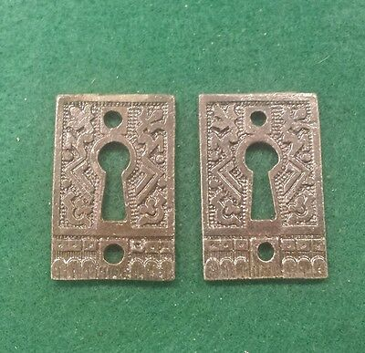 PAIR Keyhole covers CAST IRON Victorian Style Pattern. Really different.  (6EB)
