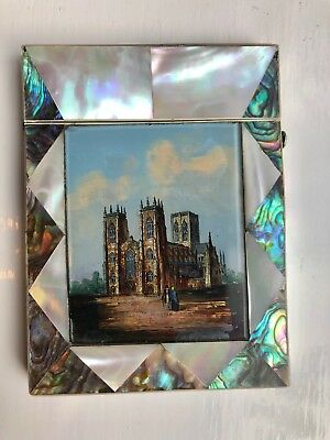 Fine Victorian Mother-of-pearl card case with gem-painted panel - York Minster
