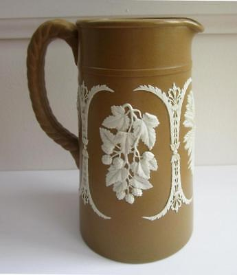 ANTIQUE 19th C  BROWN JASPERWARE PITCHER or MILK JUG by DUDSON England GRAPES