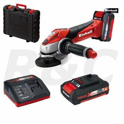 """Einhell 115mm (4.5"""") 18V Cordless Angle Grinder with 2 x Li-ion Batteries"""