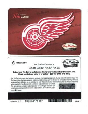Tim Hortons Detroit Red Wings 2013 Gift Card FD36433