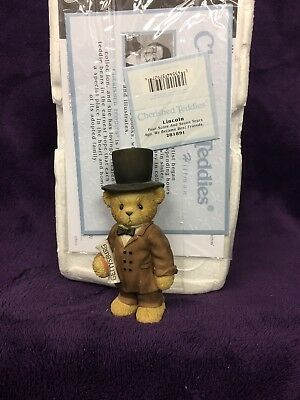 """Cherished Teddies figurines """"Lincoln"""" Four Score And Seven Years Ago."""