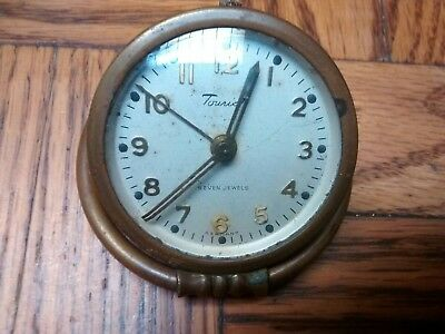 Vintage Tourist Free Art Deco Style 7 Jewel Alarm Clock As Is Parts Repair
