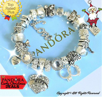 "Authentic Pandora Bracelet Silver with ""My Beautiful Wife""  European Charms New"