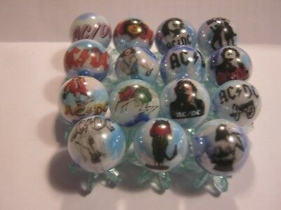 AC DC GLASS MARBLES 5/8 SIZE COLLECTION LOT with stands