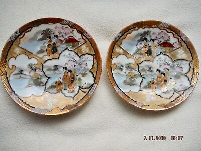 Pair of Satsuma Hand Decorated Signed Small Plates
