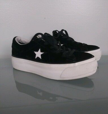Converse One Star Velvet Platform Sneakers Womens Size 7 Black White Fashion