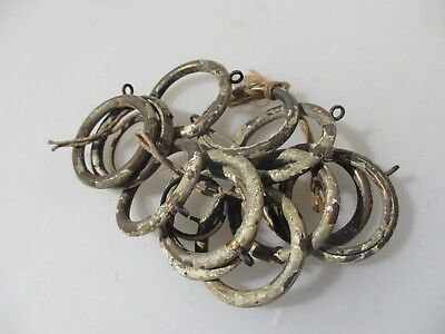 "Antique Brass Curtain Rings Vintage Holder Hangers Brackets x12    2.25"" width."