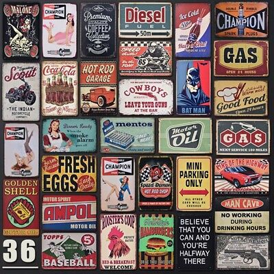Vintage Cafe Garage Metal Tin Sign Art Man Cave Wall Decor Retro Plate Poster