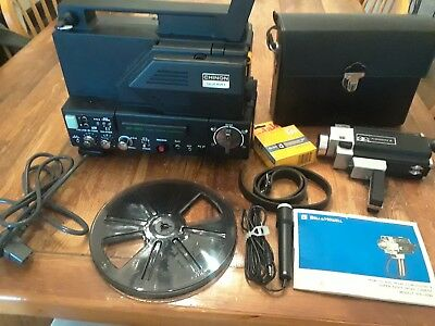 8mm BUNDLE! CHINON Sound SP-350 8mm Reel Projector and B&H Filmsound 8 Camera