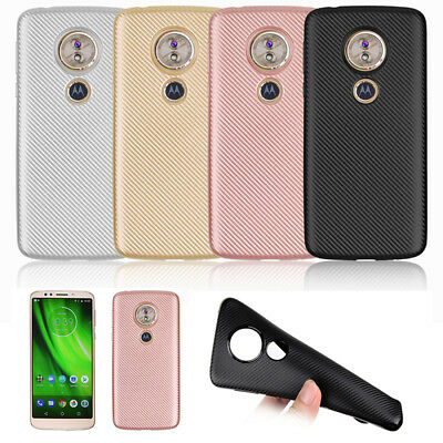 Carbon Fibre For Motorola Moto G6 Play TPU Rugged Soft Gel Case Silicone Cover