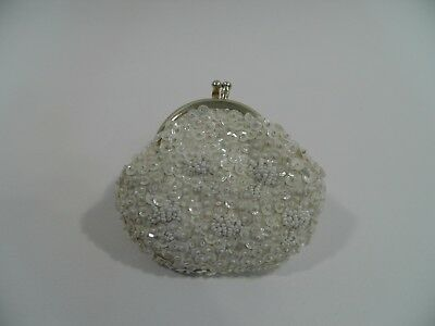 Vintage DeLill Coin Purse White Beaded & Sequin Hand Made in Macao