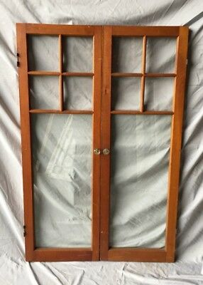 Pair Antique 5 Lite Casement Cabinet Door Window Vintage Old 15X46 330-18C