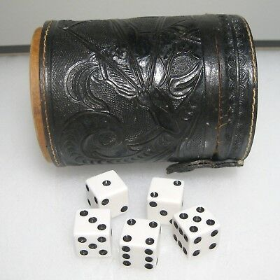 Vintage Hand Tooled Leather Dice Cup w/ Storage & 5 Dice