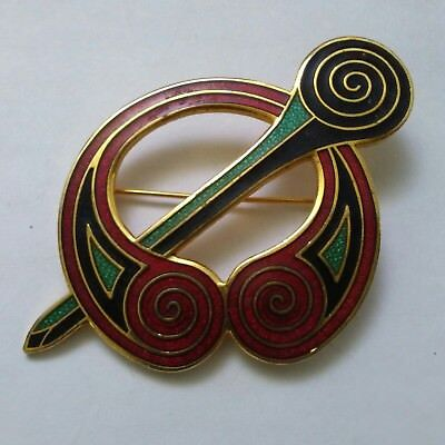 Estate Vintage Celtic Sea Gems Signed Guilloche Enameled Brooch Bin9-3