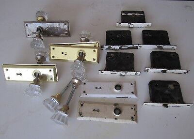 Vintage/Antique Victorian Clear Glass Brass Door Knob Handle Set