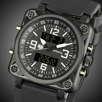 INFANTRY Mens Digital Quartz Wrist Watch Chronograph Sports Black Military Army