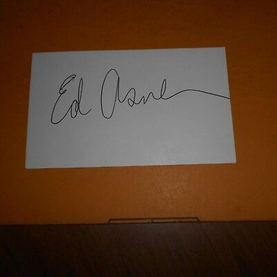 Edward Asner is an American actor, voice actor  Hand Signed 5 x 3 Index Card