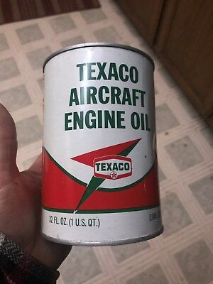 Vintage Texaco Aircraft Motor Oil Metal Can Still Full  Sae 30
