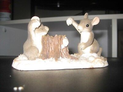 """Charming Tails """"The Snowball Fight"""" Christmas Figurine Mice"""