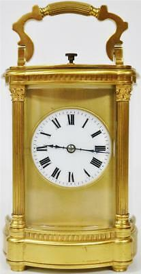 Rare Antique 19thc French 8 Day Bowed Glass Gilt Brass Repeater Carriage Clock