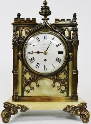 Rare Antique 19thc English London Fusee 8 Day Bronze Cathedral Bracket Clock