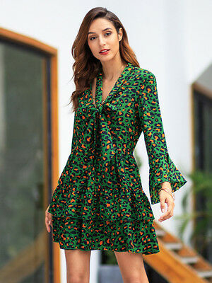 the latest 22eb8 13e63 VESTITO ABITO DONNA corto scampanato animalier moda verde morbido manica  4960