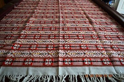 Beautiful Woven Coverlet with Fringe Wool Cotton48 X 85