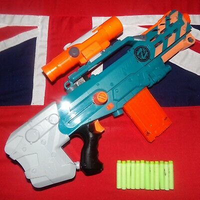 Nerf Zombie Strike Longshot Sniper Rifle Blaster Gun Scope Sight 12 Darts Clip