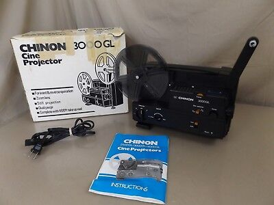 CHINON 3000GL DUAL 8 Super 8 / Reg 8mm Movie Film Projector WORKS!