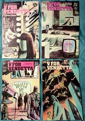 V FOR VENDETTA #1, 4, 5, 8 lot VF/NM 1988 ALAN MOORE DC COMICS