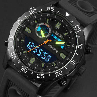 INFANTRY Mens Digital Quartz Wrist Watch Luxury Military Sport Black Silicone