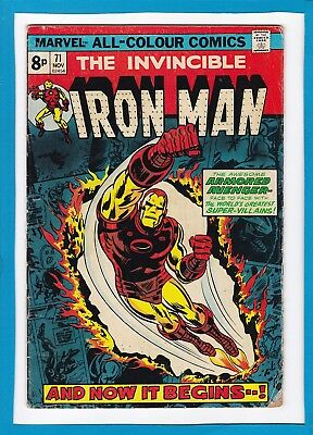 """Invincible Iron Man #71_November 1974_Very Good Minus_""""and Now It Begins...""""_Uk!"""