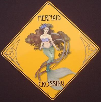 MERMAID CROSSING Sign 16 1/2 by 16 1/2 NEW  picture   decor home signs mermaids