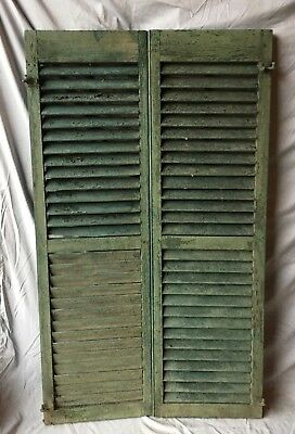 Pair Antique House Window Louvered Shutters 18X59 Shabby Vintage Chic 331-18C