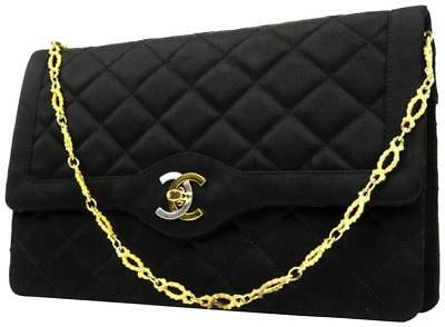 b9641f9170b0 CHANEL BLACK QUILTED Satin Camellia Mini Flap Bag - $2,305.00 | PicClick