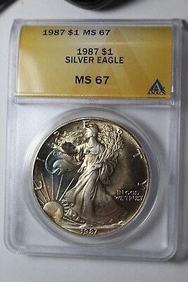 1987 Sunrise Color Toned Silver Eagle MS 67 ANACS #242