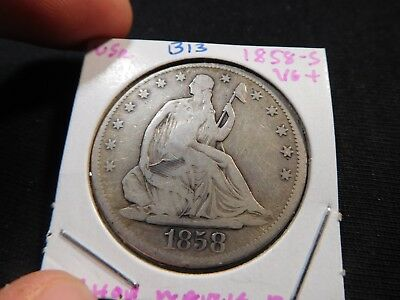B13 USA 1858-S Seated Liberty Half Dollar VG+ w/ Chinese Chop Marks Reverse