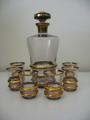 Vintage Liqueur Decanter with 6 Glasses Pale Amethyst with Gold Banding