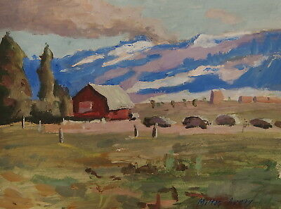 Antique old impressionist unique original gouache and oil landscape painting