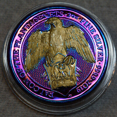2019 Great Britain 2 oz Queen's Beasts The Falcon Gold / Rainbow Toned / Toning