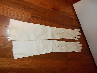 """Antique Ladies High Gloves-Off White-Size 6.5-Length 21.5""""-Italy-Washable Leathe"""