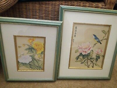 Chinese silk pictures framed
