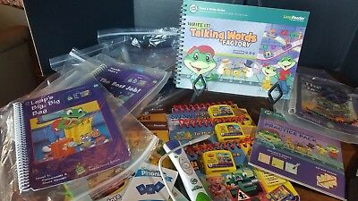 LEAP FROG Tag Reading System Lot 21 books, PEN READER & charging cable CASETTES
