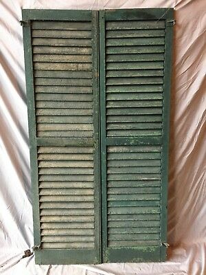 Pair Antique House Window Louvered Shutters 18X63 Shabby Vintage Chic 334-18C